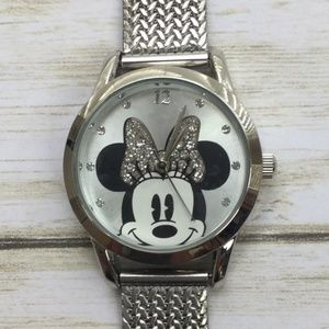 Disney Minnie Mouse Womens Rhinestone Analog Metal